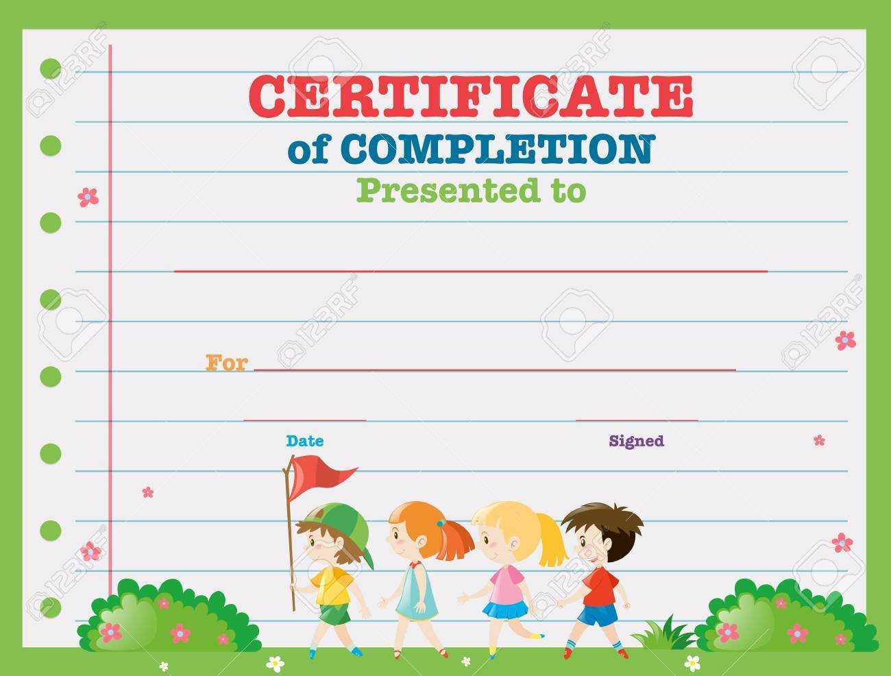 Certificate Template With Kids Walking In The Park Illustration In Walking Certificate Templates