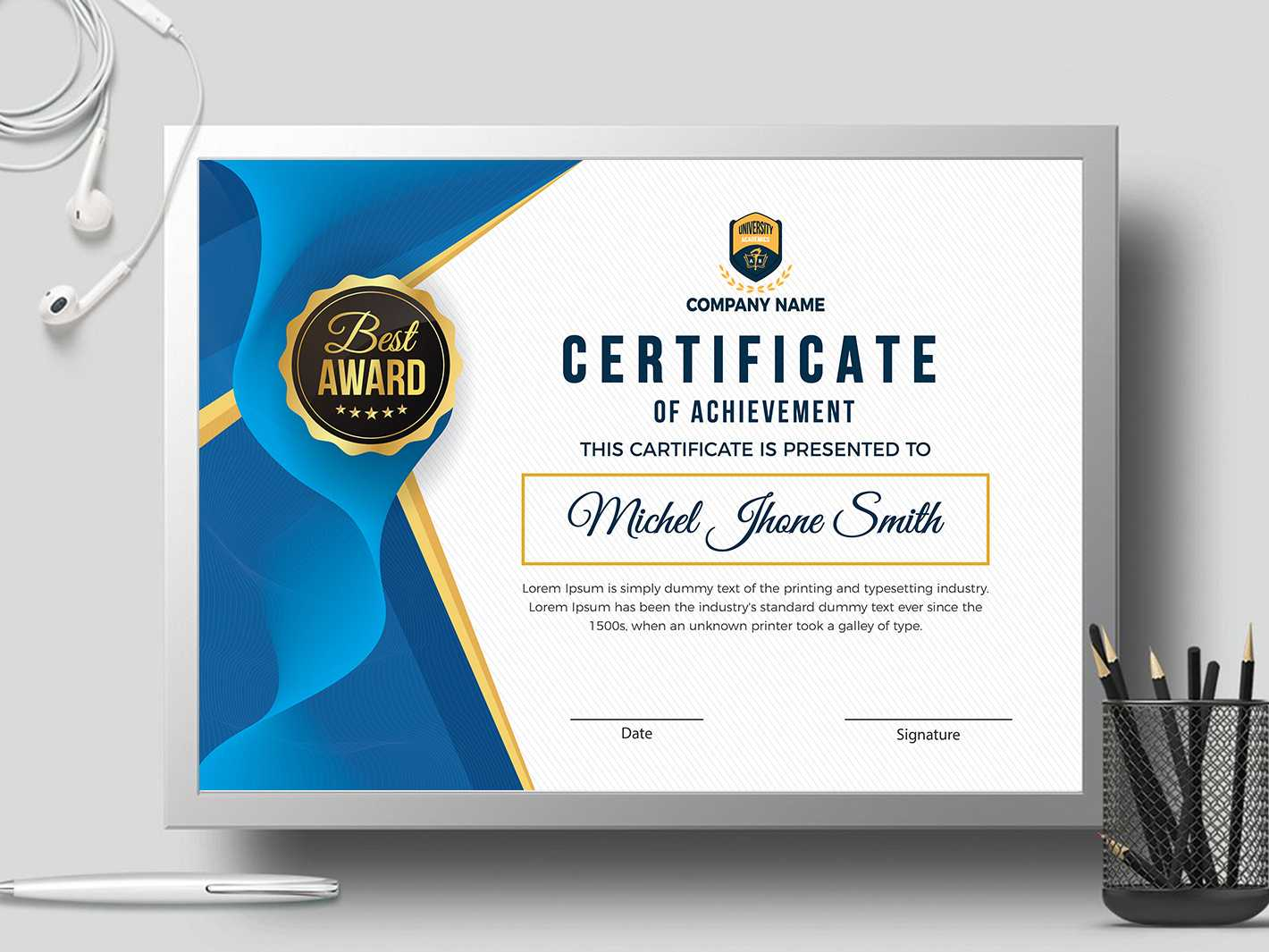 Certificate Templatecreative Touch On Dribbble Intended For Landscape Certificate Templates