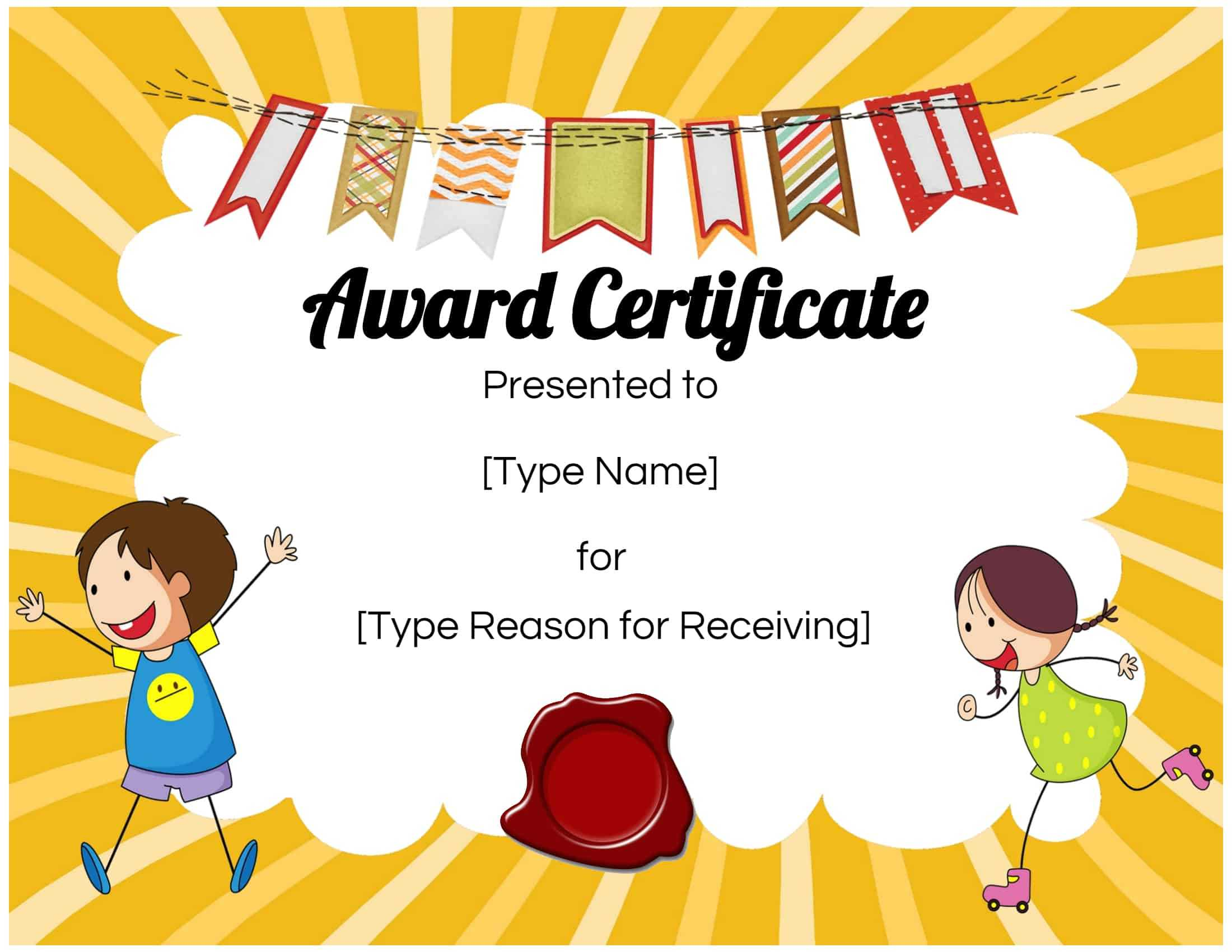 Certificates For Kids Inside Children's Certificate Template
