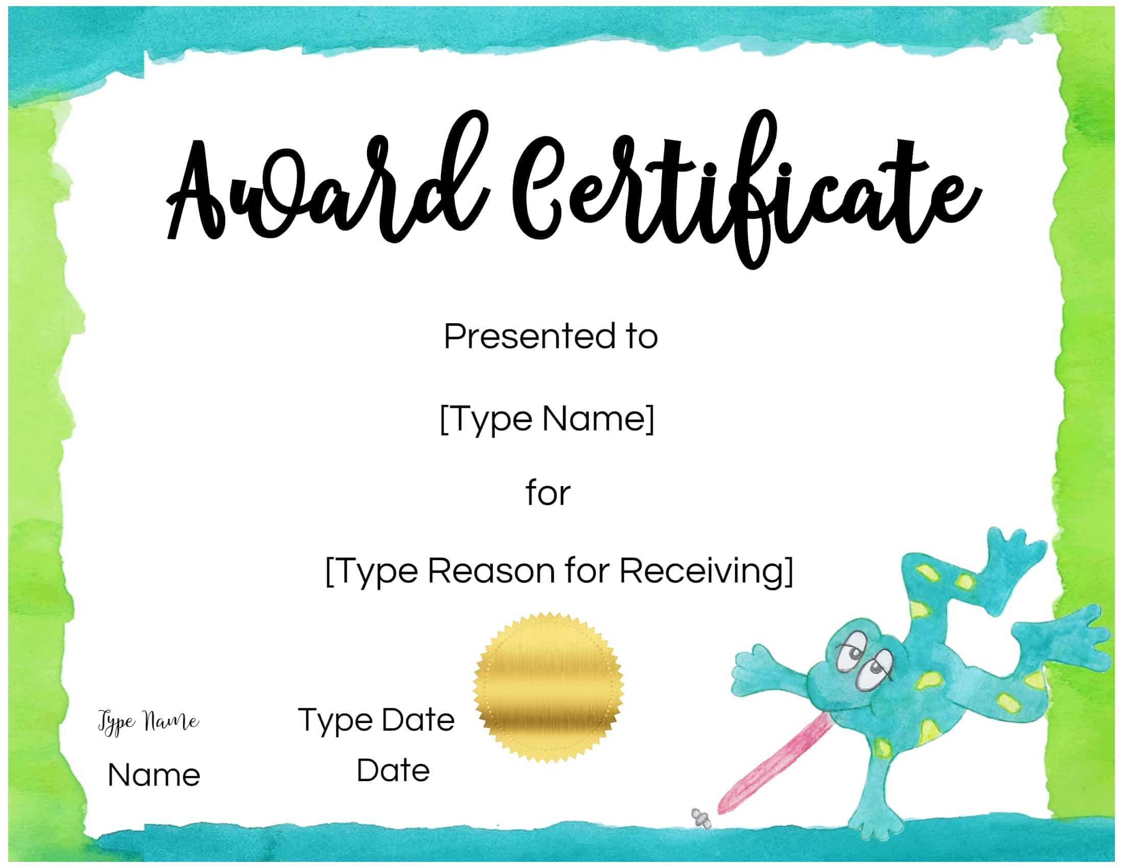 Certificates For Kids Within Free Kids Certificate Templates