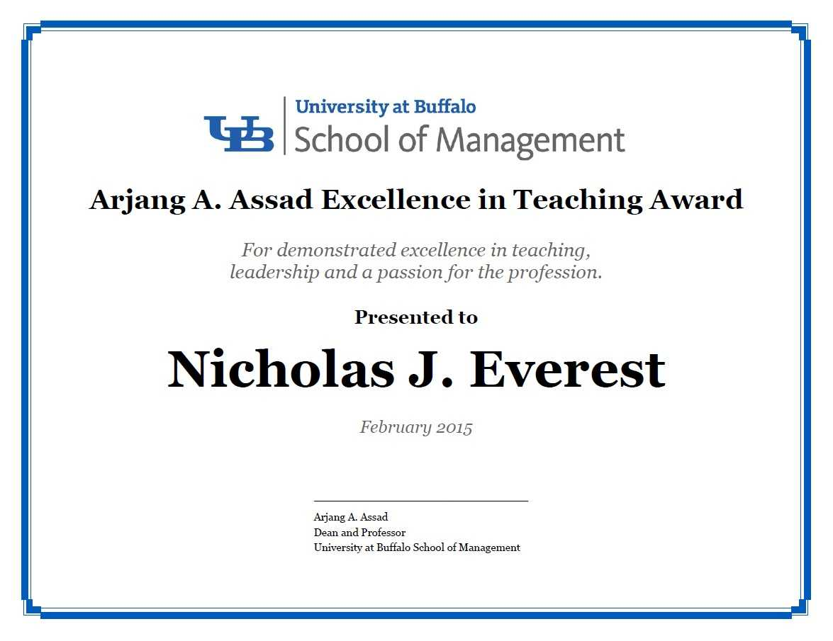 Certificates – School Of Management – University At Buffalo Inside Leadership Award Certificate Template