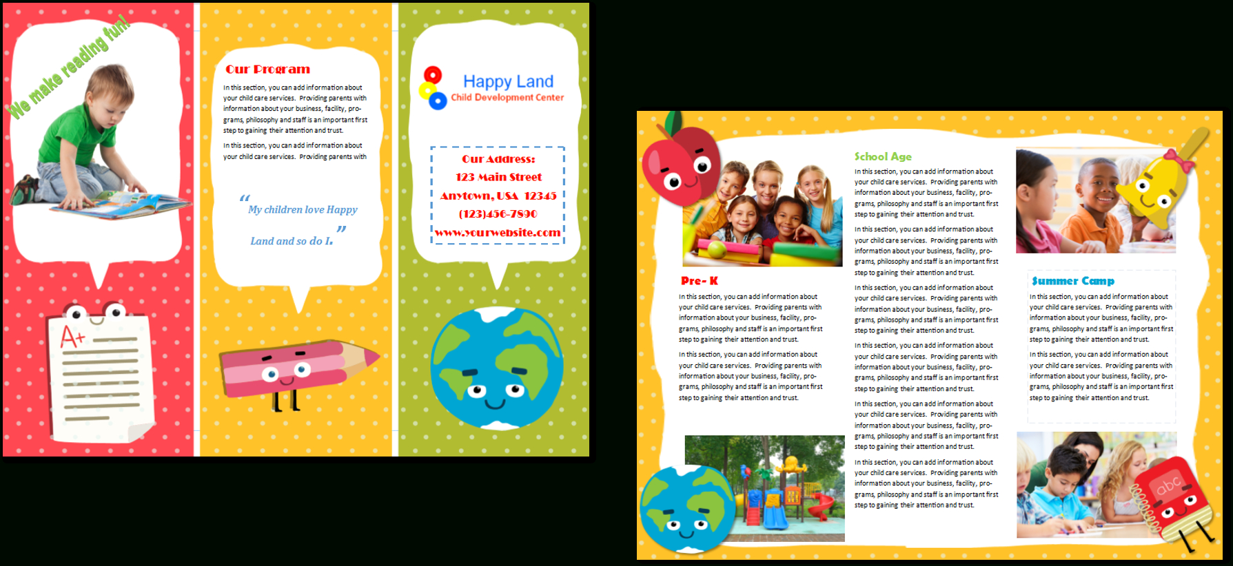 Child Care Brochure Template 22 With Daycare Brochure Template