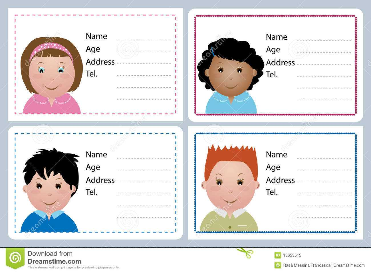Children Name Card Stock Vector. Illustration Of Horizontal Intended For Id Card Template For Kids