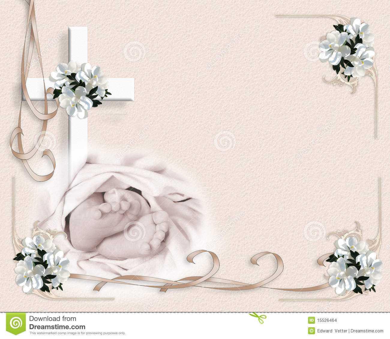 Christening Baptism Invitation Stock Illustration Throughout Free Christening Invitation Cards Templates