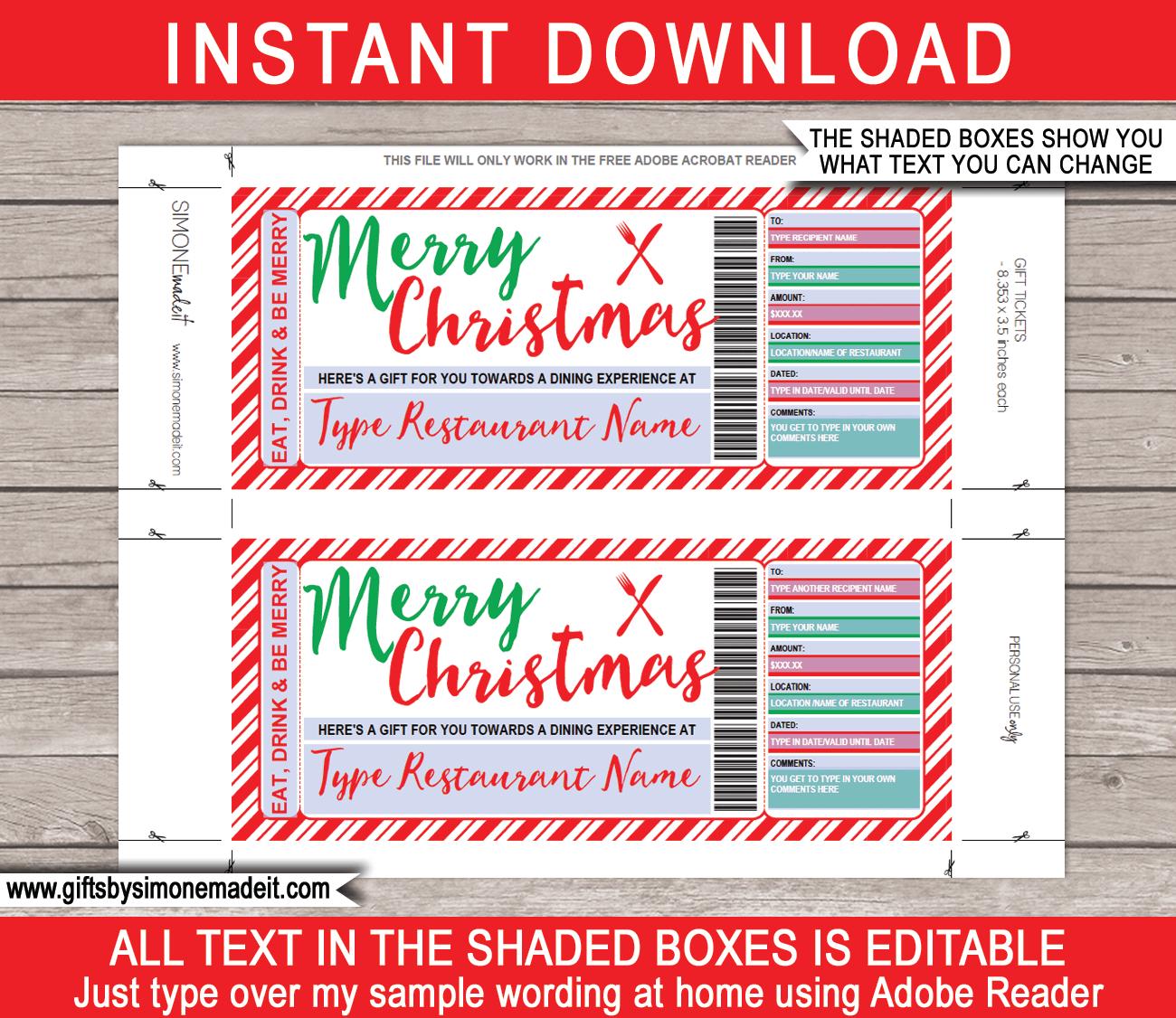 Christmas Restaurant/dining Gift Certificate Intended For Restaurant Gift Certificate Template