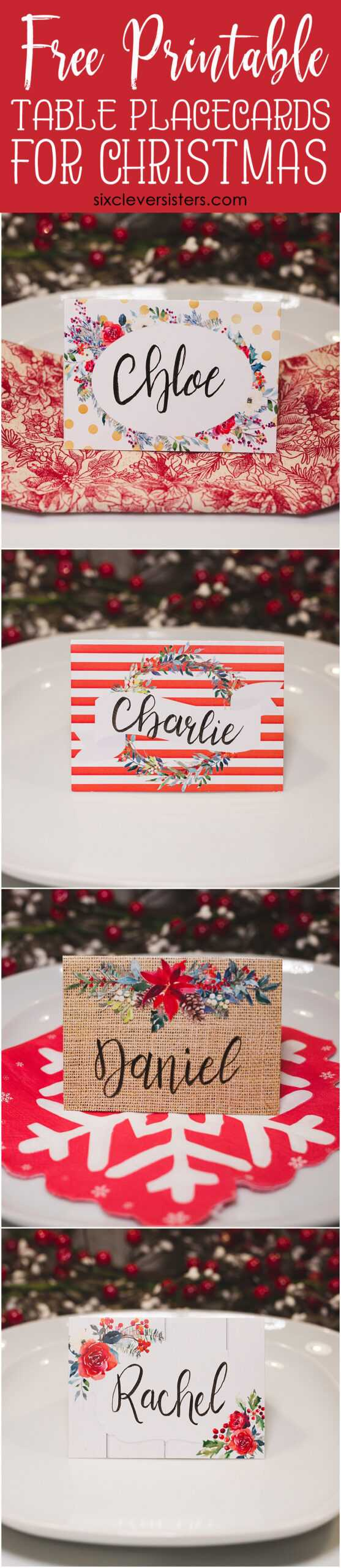 Christmas Table Place Cards { Free Printable} - Six Clever Pertaining To Christmas Table Place Cards Template