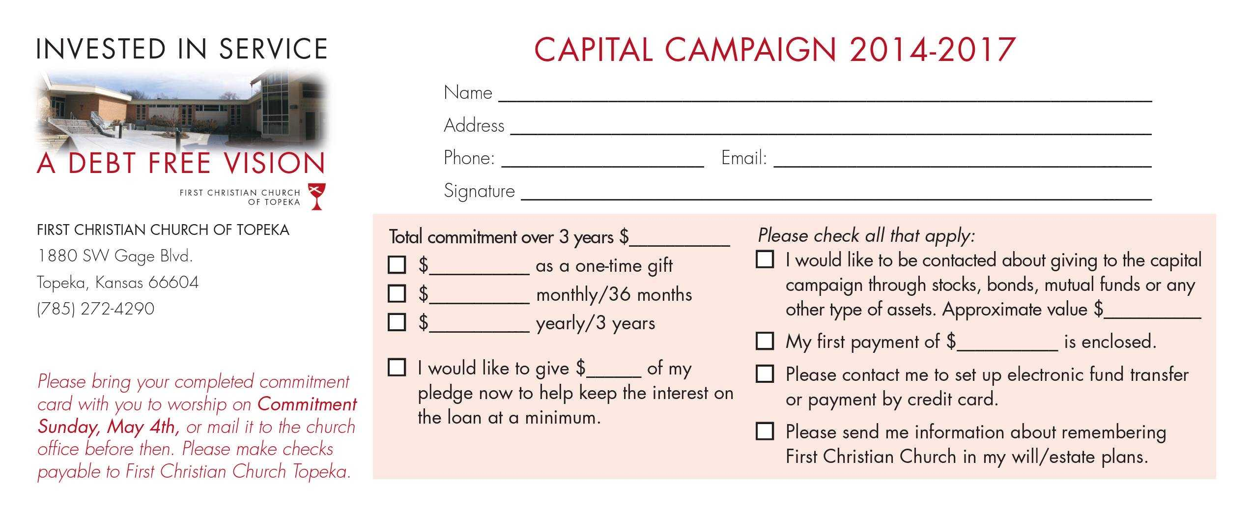 Church Capital Campaign Pledge Card Samples Inside Church Pledge Card Template