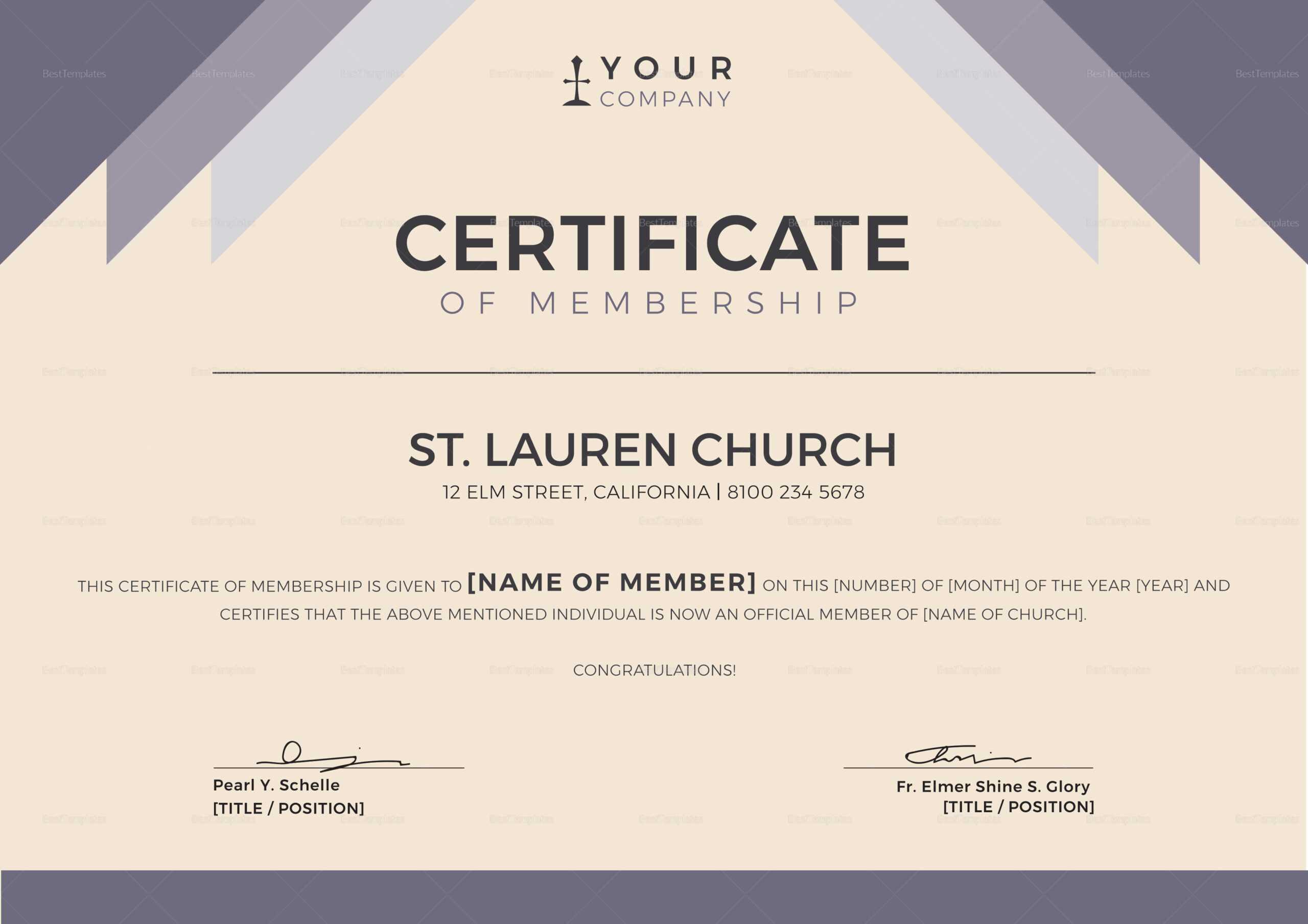 Church Membership Certificate Template Regarding New Member Certificate Template