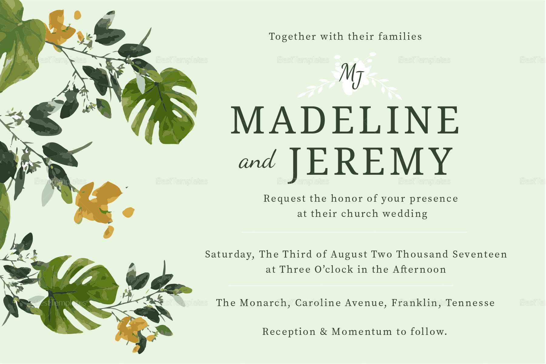 Church Wedding Invitation In Landscape And Portrait Intended For Church Wedding Invitation Card Template