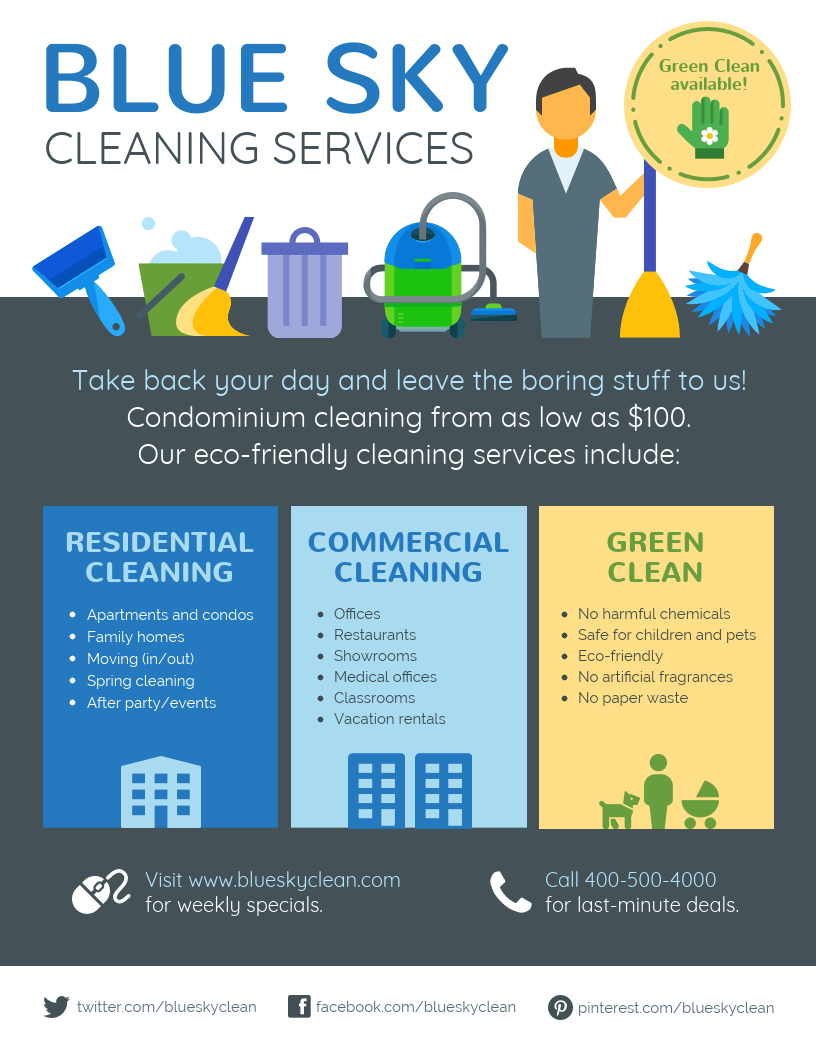Cleaning Service Flyer Inside Commercial Cleaning Brochure Templates
