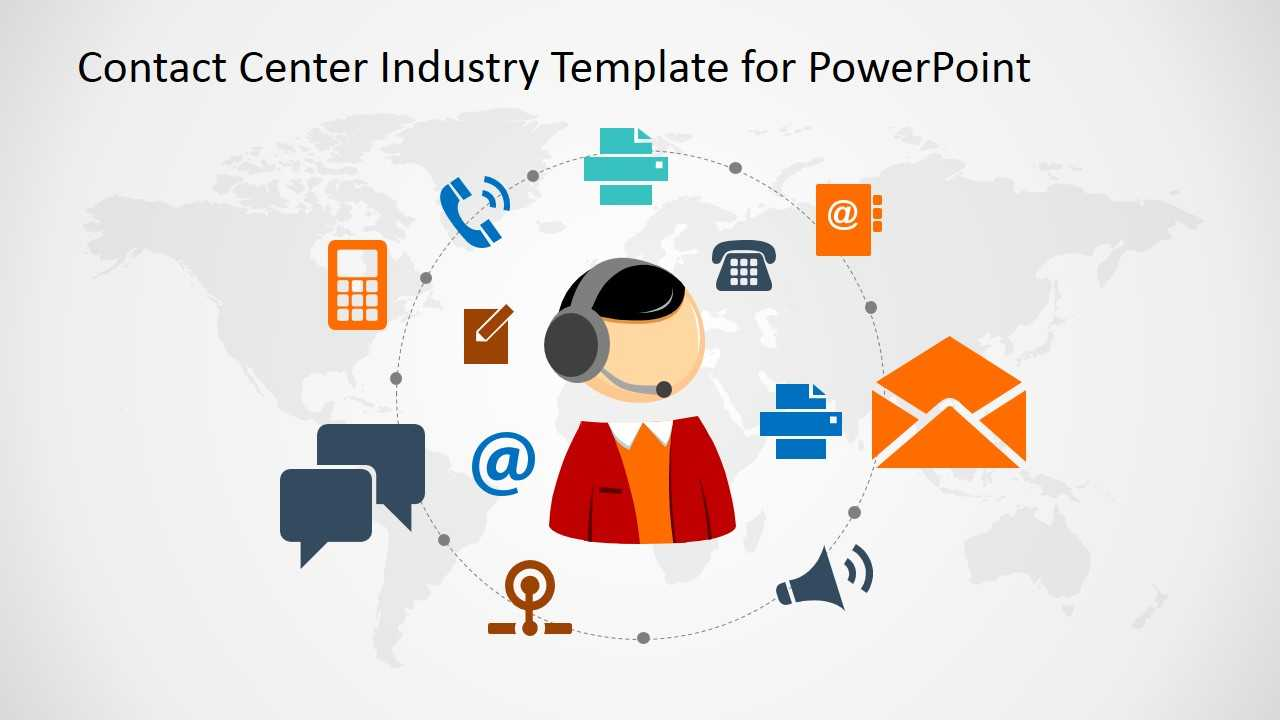 Contact Center Industry Powerpoint Template With Powerpoint Templates For Communication Presentation