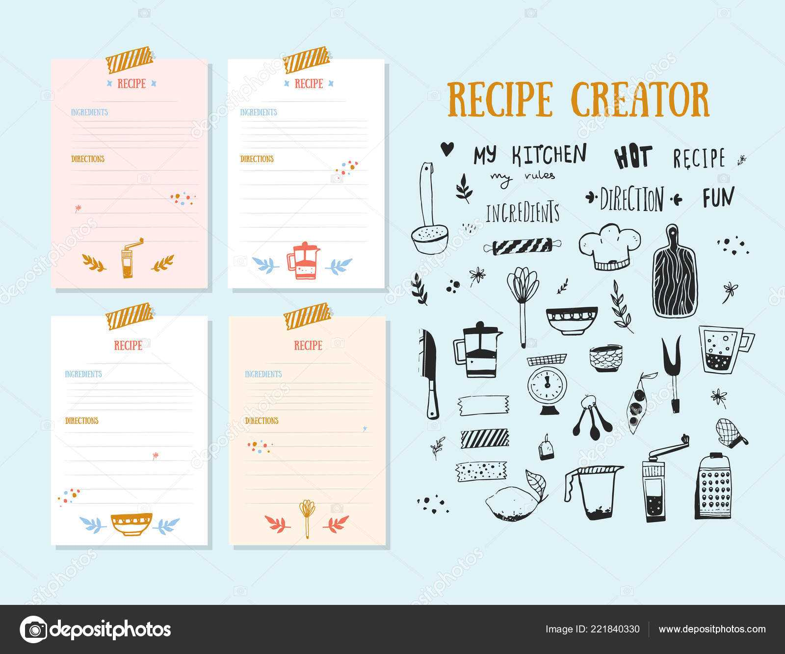 Cookbook Design Template | Modern Recipe Card Template Set Inside Recipe Card Design Template