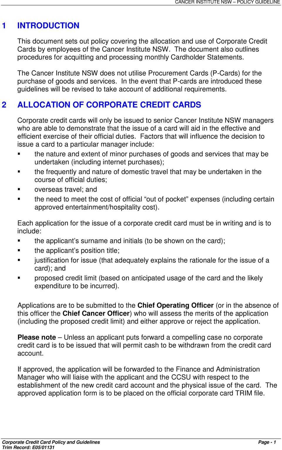 Corporate Credit Card Policy & Guidelines - Pdf Free Download Intended For Company Credit Card Policy Template