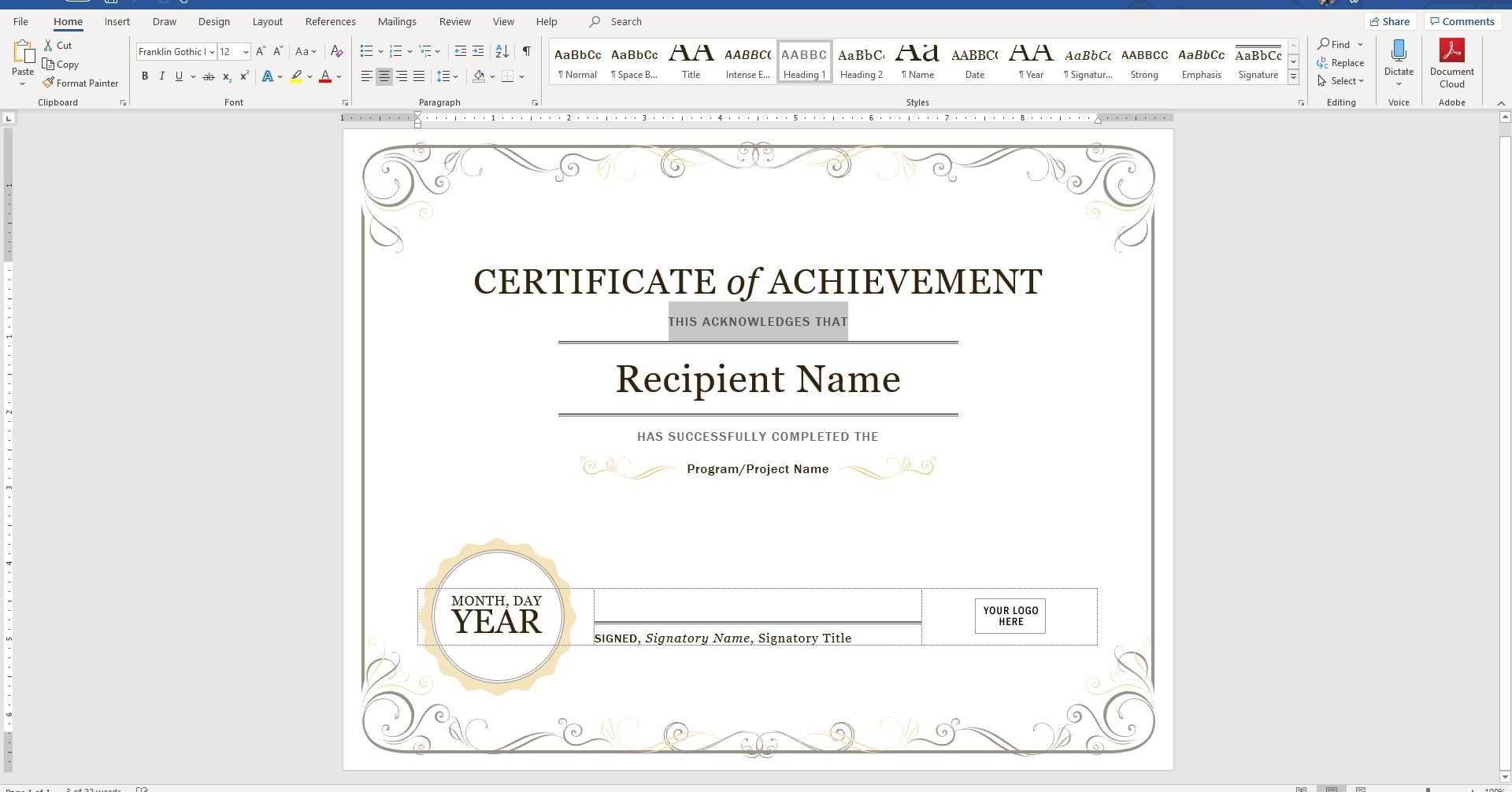 Create A Certificate Of Recognition In Microsoft Word Inside Superlative Certificate Template