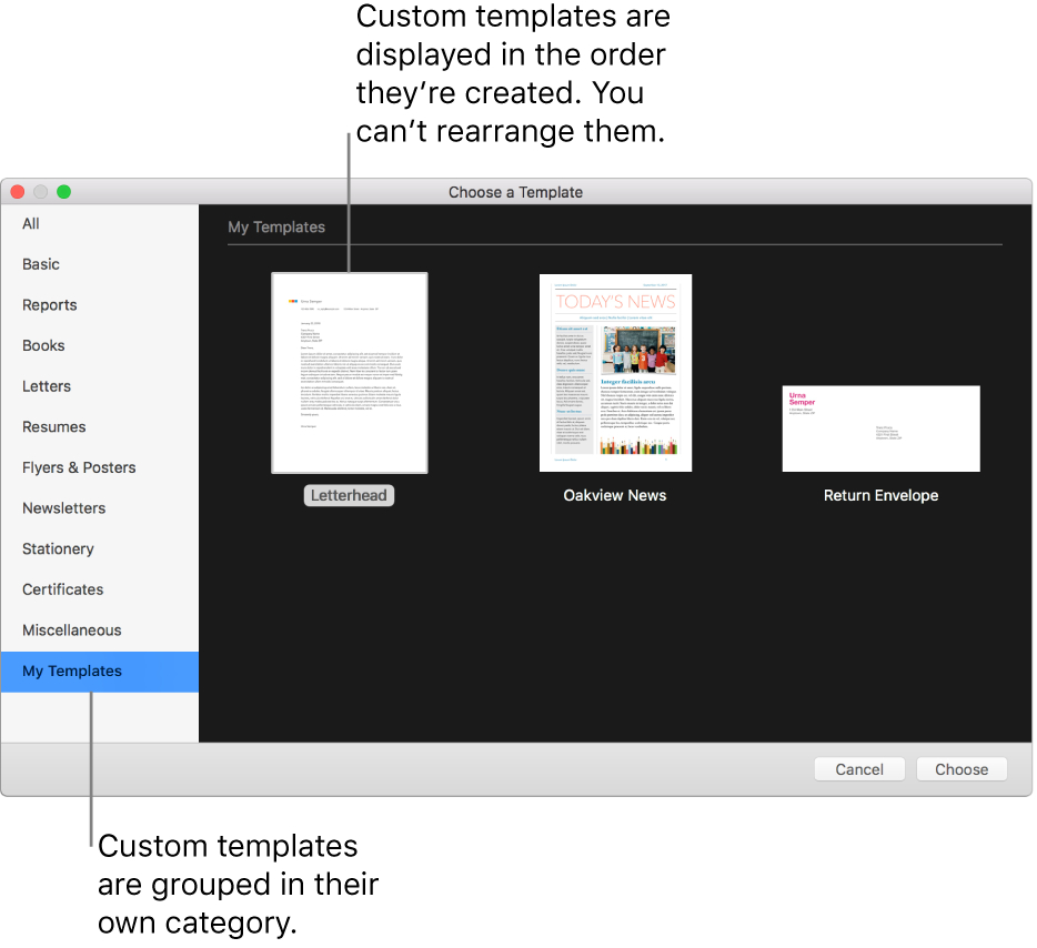 Create A Custom Template In Pages On Mac – Apple Support With Business Card Template Pages Mac