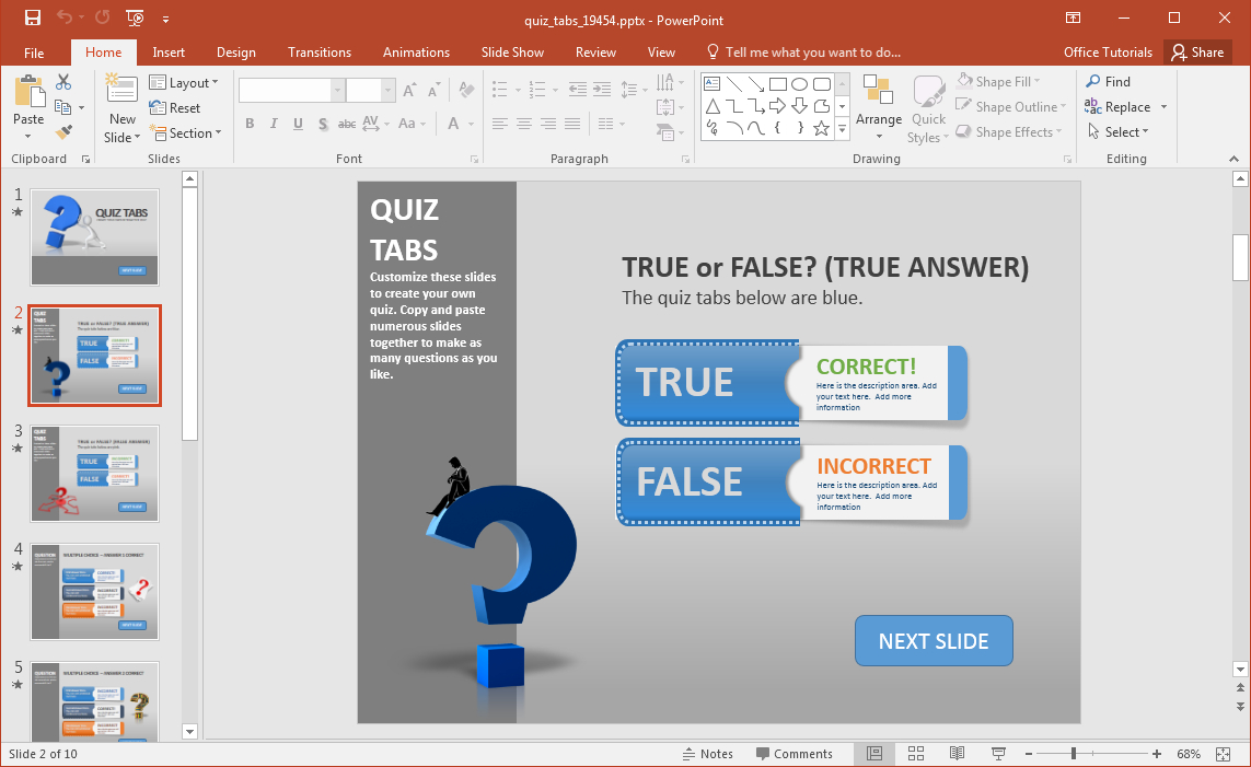 Create A Quiz In Powerpoint With Quiz Tabs Powerpoint Template For Powerpoint Quiz Template Free Download