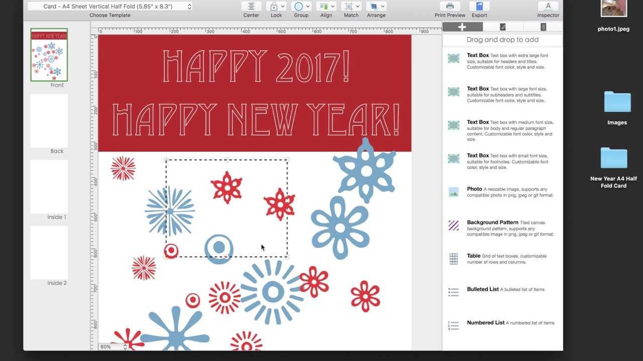 Create And Print A A4 Half Fold Greeting Card Inside Half Fold Greeting Card Template Word