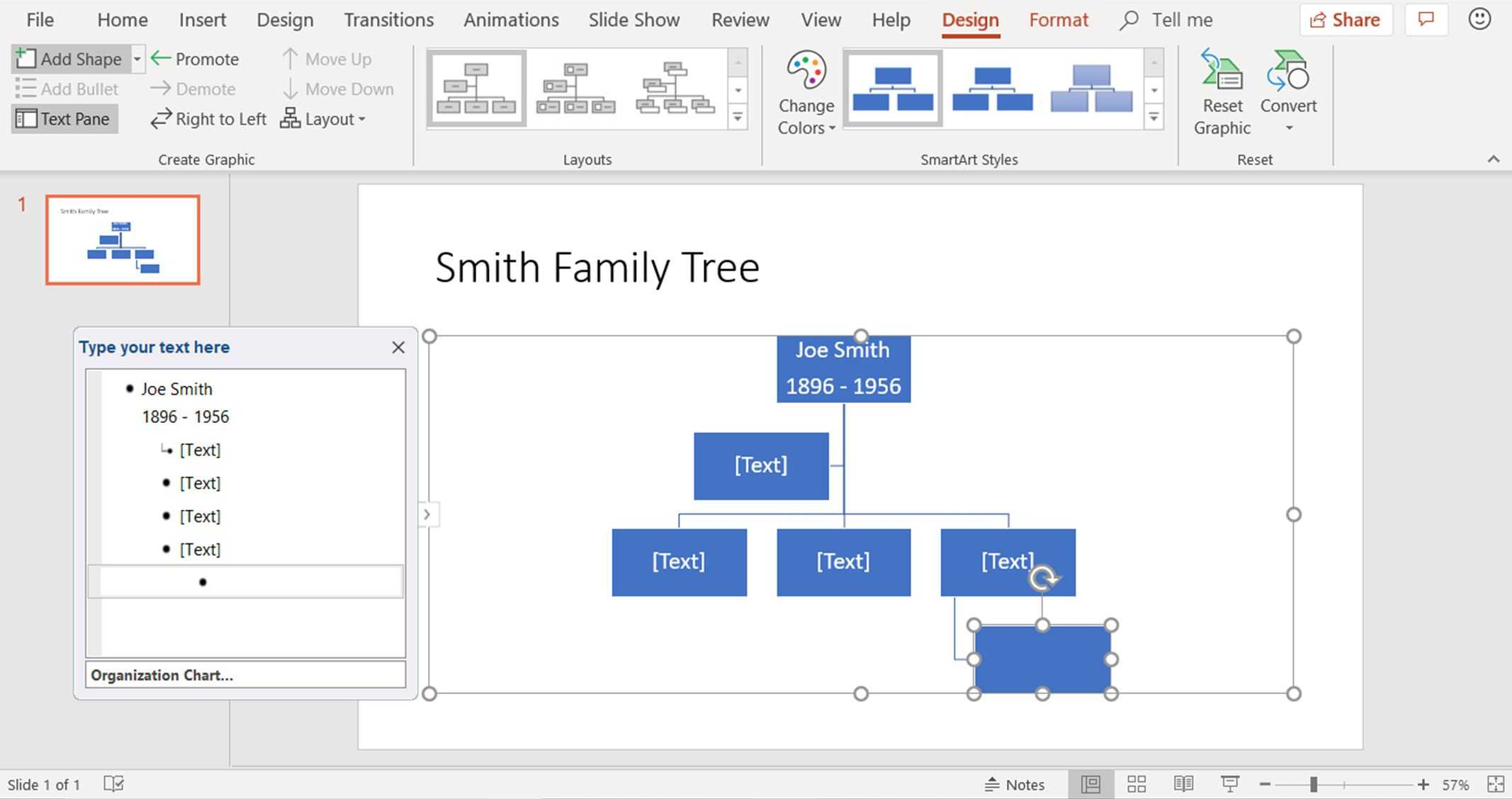 Create Family Trees Using Powerpoint Organization Chart Regarding Powerpoint Genealogy Template