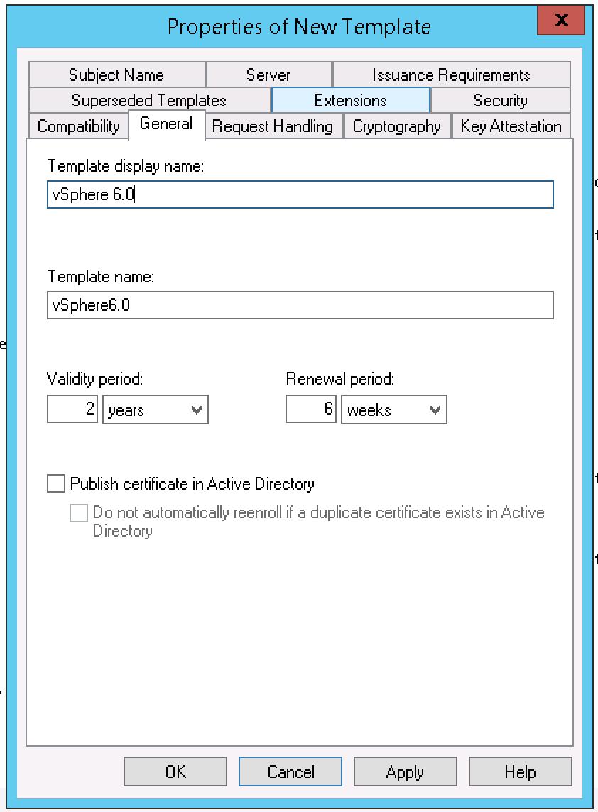 Creating A Vsphere 6 Certificate Template In Active For Active Directory Certificate Templates