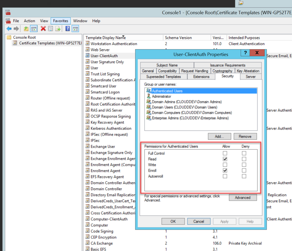 Creating The Certificate Templates In Certificate Authority Templates