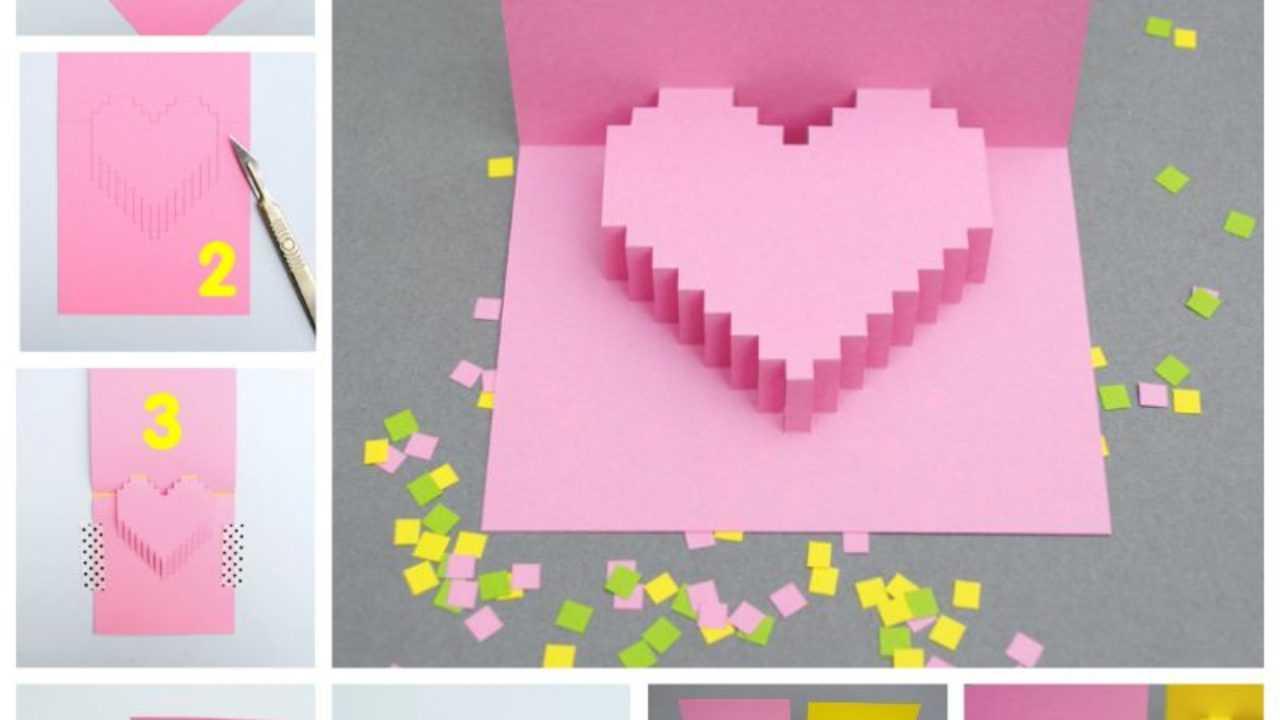 Creative Ideas - Diy Pixel Heart Popup Card In Pixel Heart Pop Up Card Template