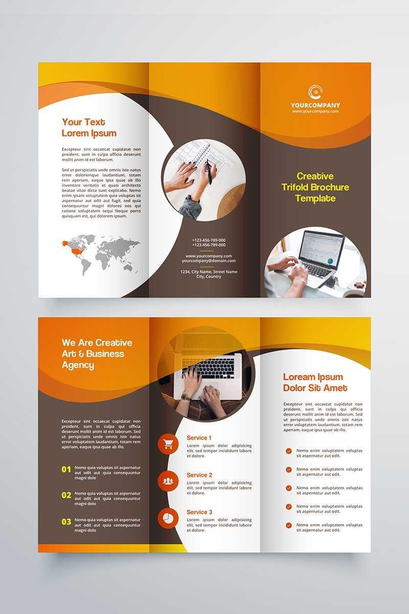 Creative Trifold Brochure Template. 2 Color Styles №80614 inside Membership Brochure Template