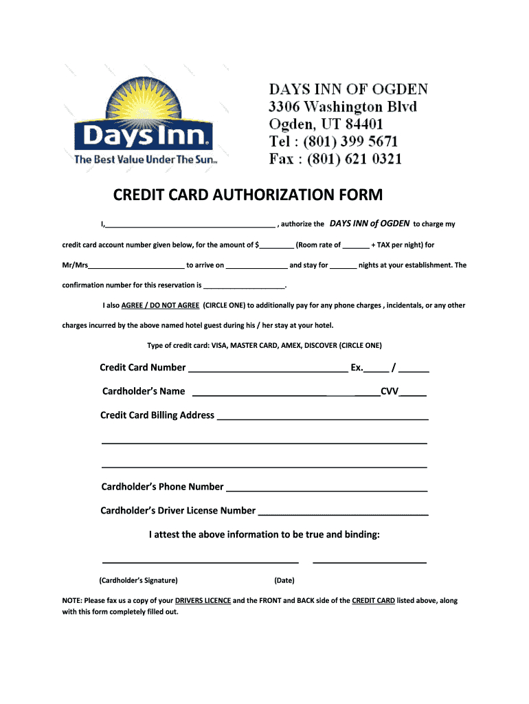 Credit Card Authorization Form - Fill Online, Printable In Hotel Credit Card Authorization Form Template