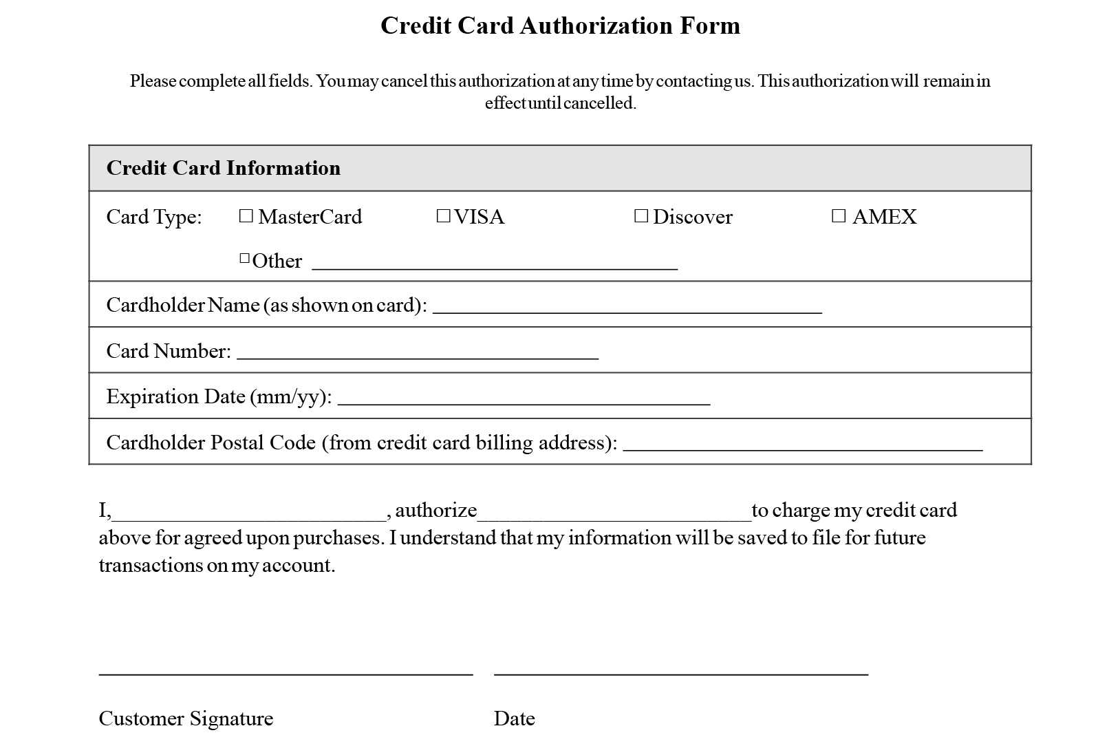 Credit Card Authorization Form Templates [Download] Regarding Credit Card Authorization Form Template Word