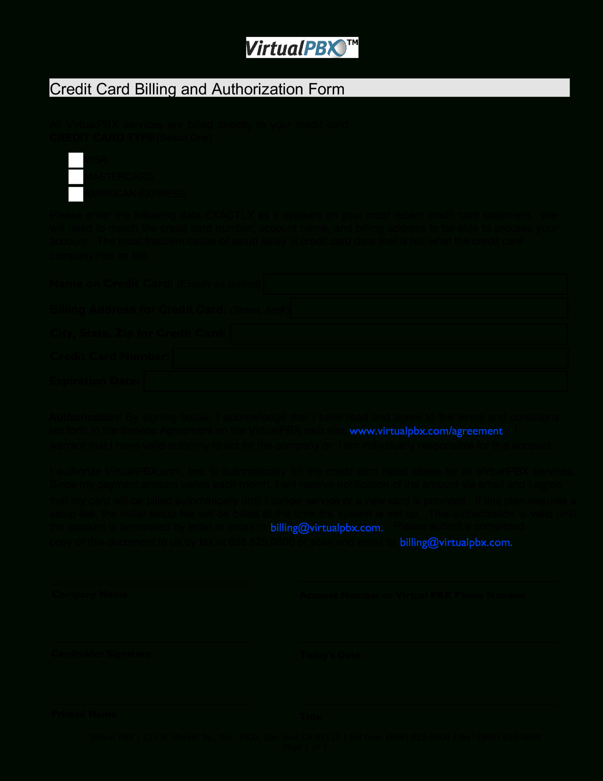 Credit Card Billing Form | Templates At Allbusinesstemplates Inside Corporate Credit Card Agreement Template