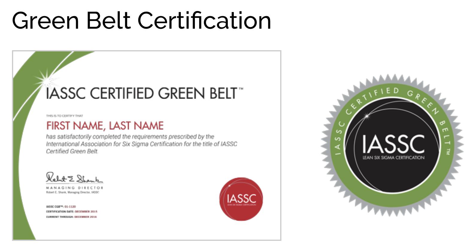 Cssgb – Lean Six Sigma Green Belt Online Self Paced – 12 Months E Learning  Access Throughout Green Belt Certificate Template
