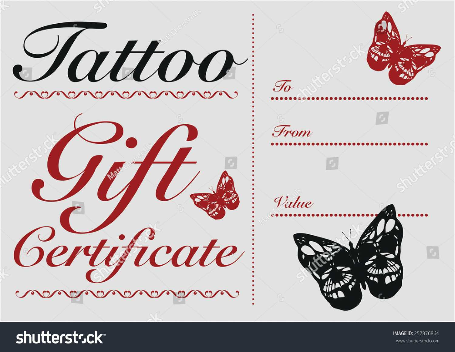 Стоковая Векторная Графика «Butterfly Skull Tattoo Gift Card With Regard To Tattoo Gift Certificate Template