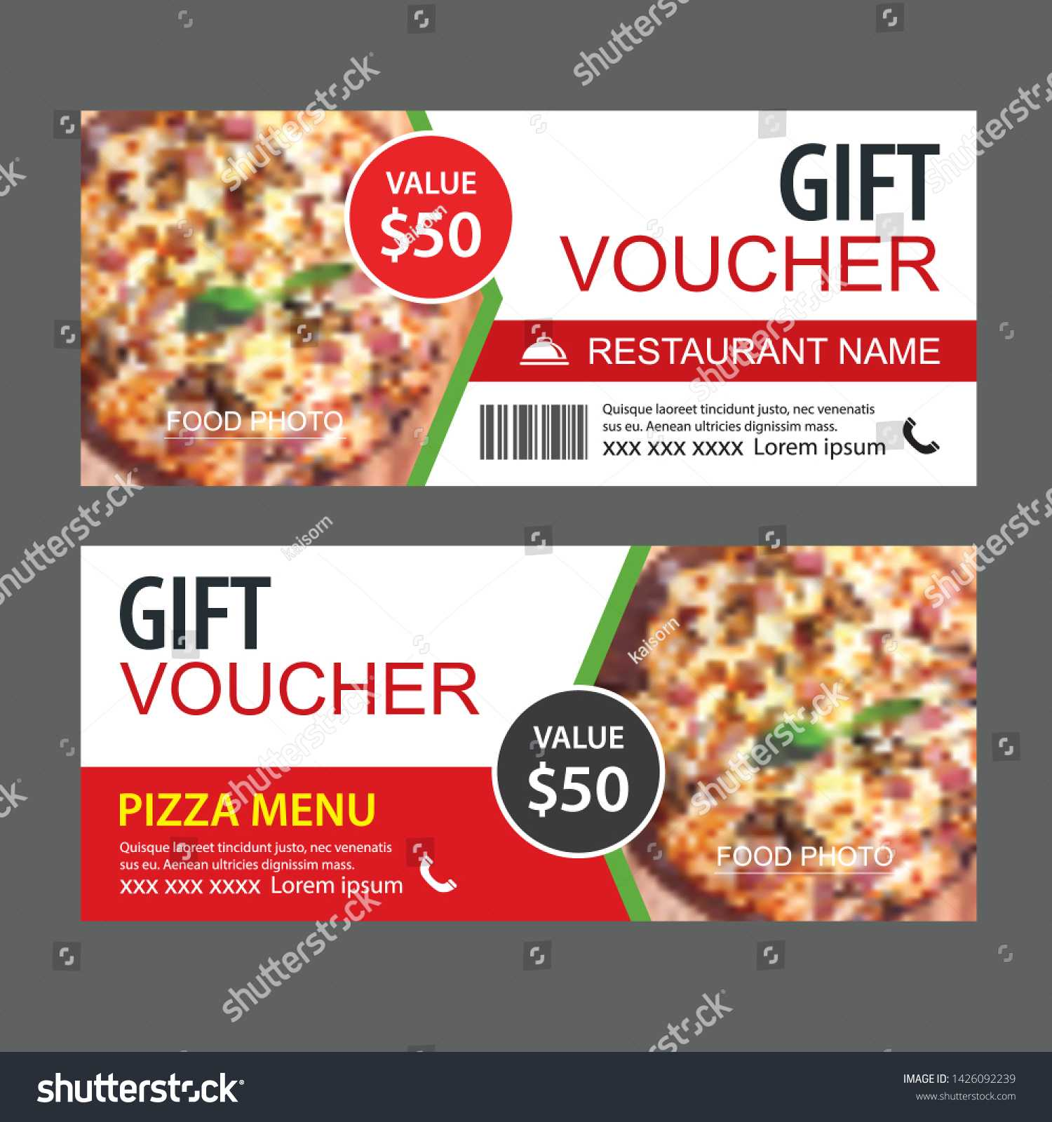 Стоковая Векторная Графика «Discount Gift Voucher Fast Food For Pizza Gift Certificate Template