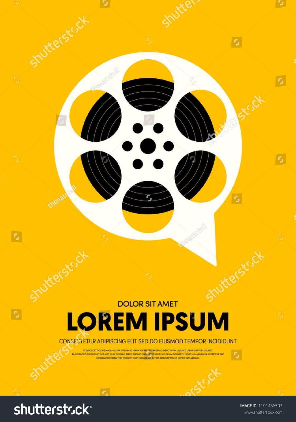 Стоковая Векторная Графика «Movie Film Festival Poster In Film Festival Brochure Template