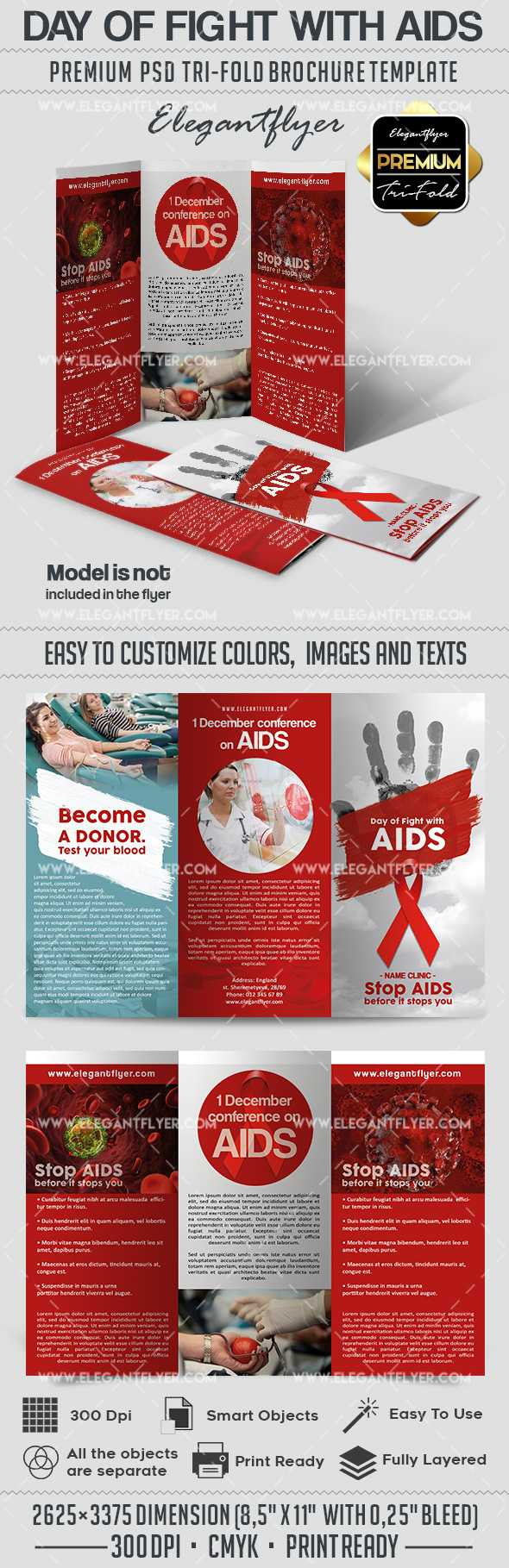 Day Of Fight With Aids Psd Brochure Within Hiv Aids Brochure Templates