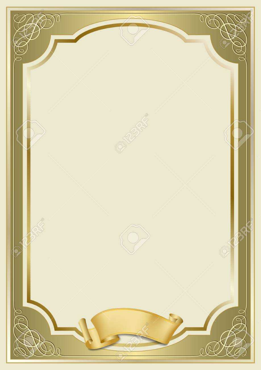 Decorative Rectangular Framework And A Scroll. Template For Diploma,.. For Certificate Scroll Template