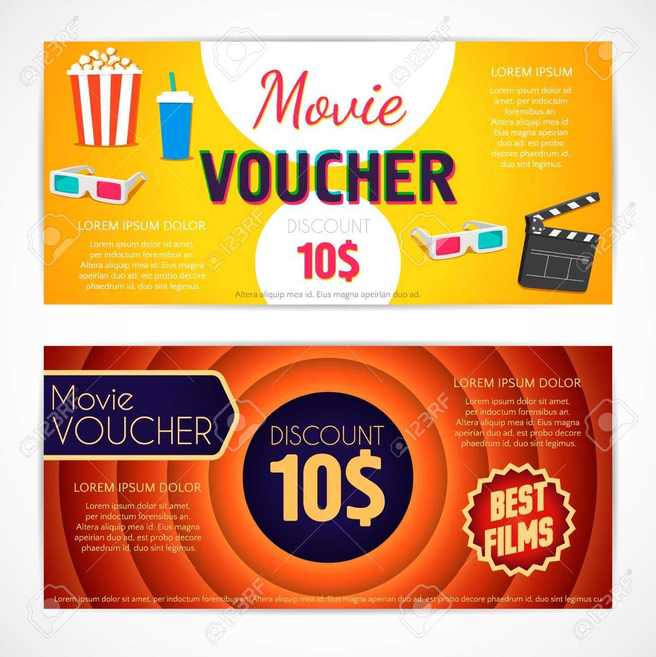 Discount Voucher Movie Template, Cinema Gift Certificate, Coupon.. Within Movie Gift Certificate Template