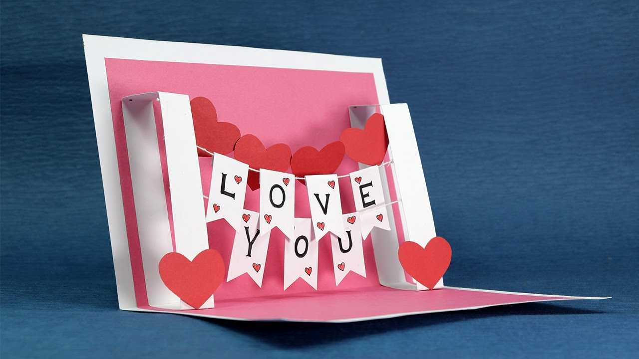 Diy Valentine Card - Handmade I Love You Pop Up Card Regarding I Love You Pop Up Card Template