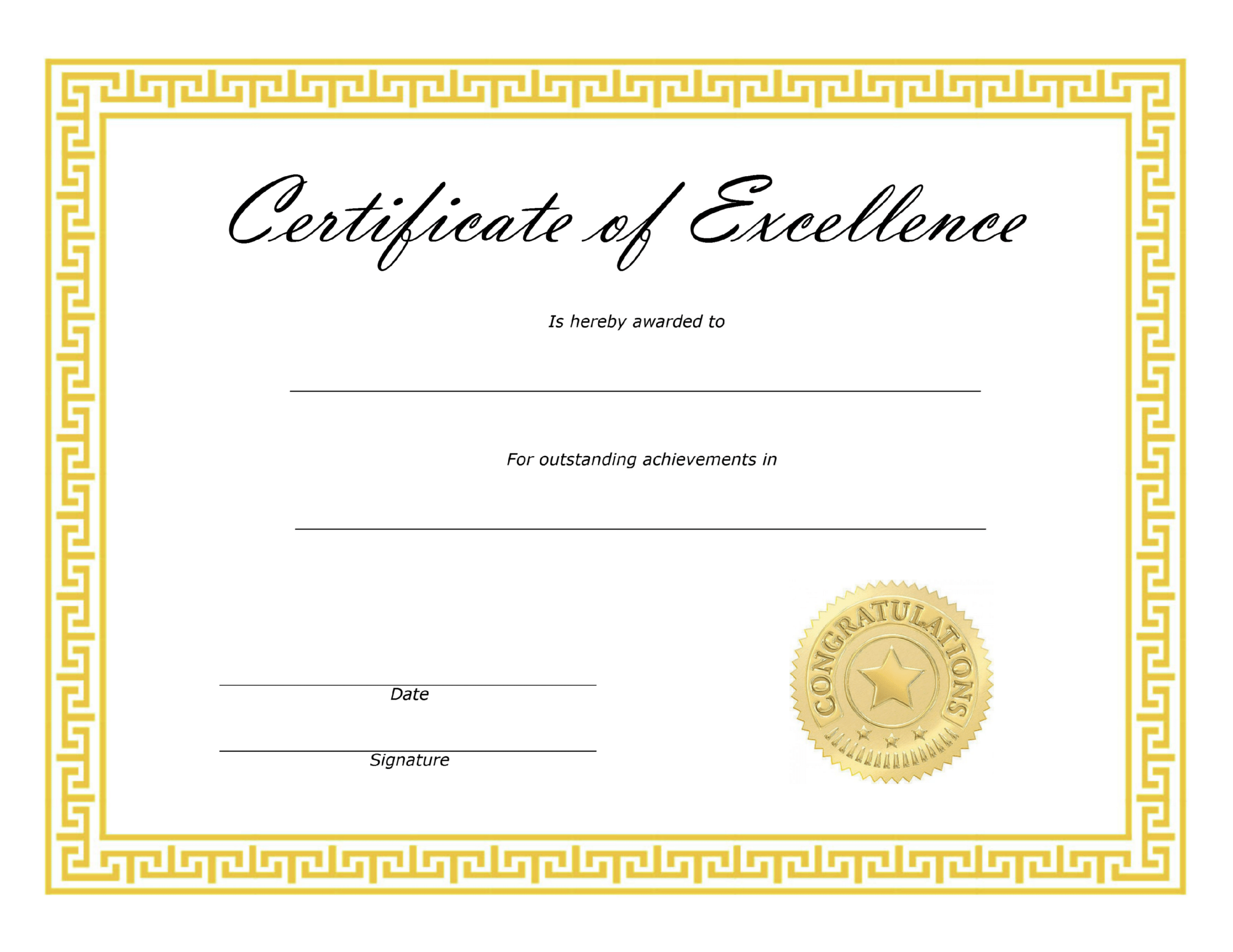 ❤️ Free Sample Certificate Of Excellence Templates❤️ With Regard To Certificate Of Excellence Template Free Download