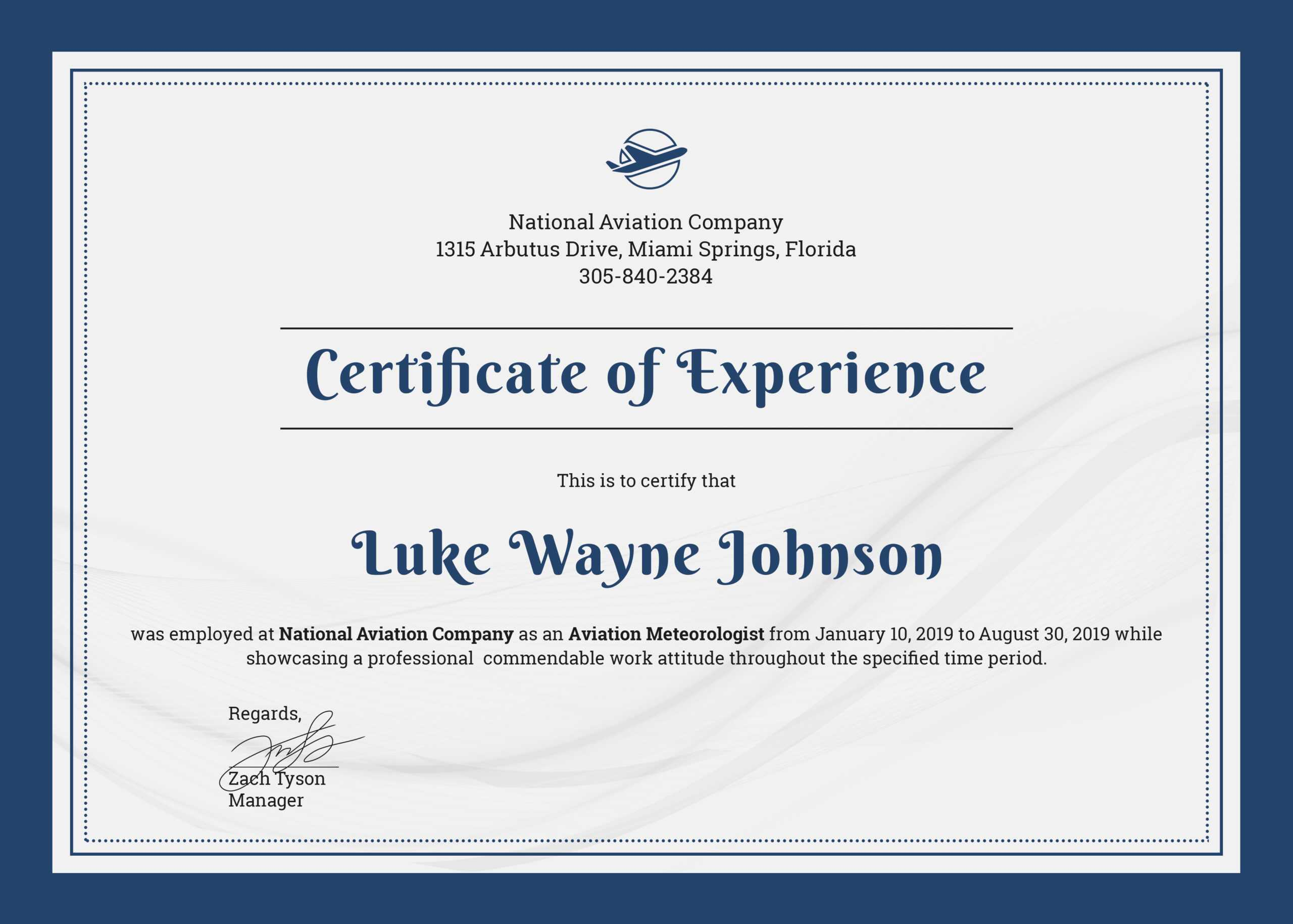 ❤️free Printable Certificate Of Experience Sample Template❤️ Inside Certificate Of Experience Template