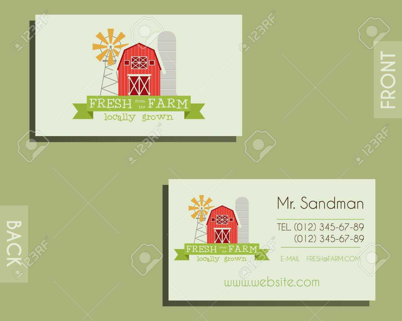 Eco, Organic Visiting Card Template. For Natural Shop, Farm Products And  Other Bio, Organic Business. Ecology Theme. Eco Design. Vector Illustration With Bio Card Template