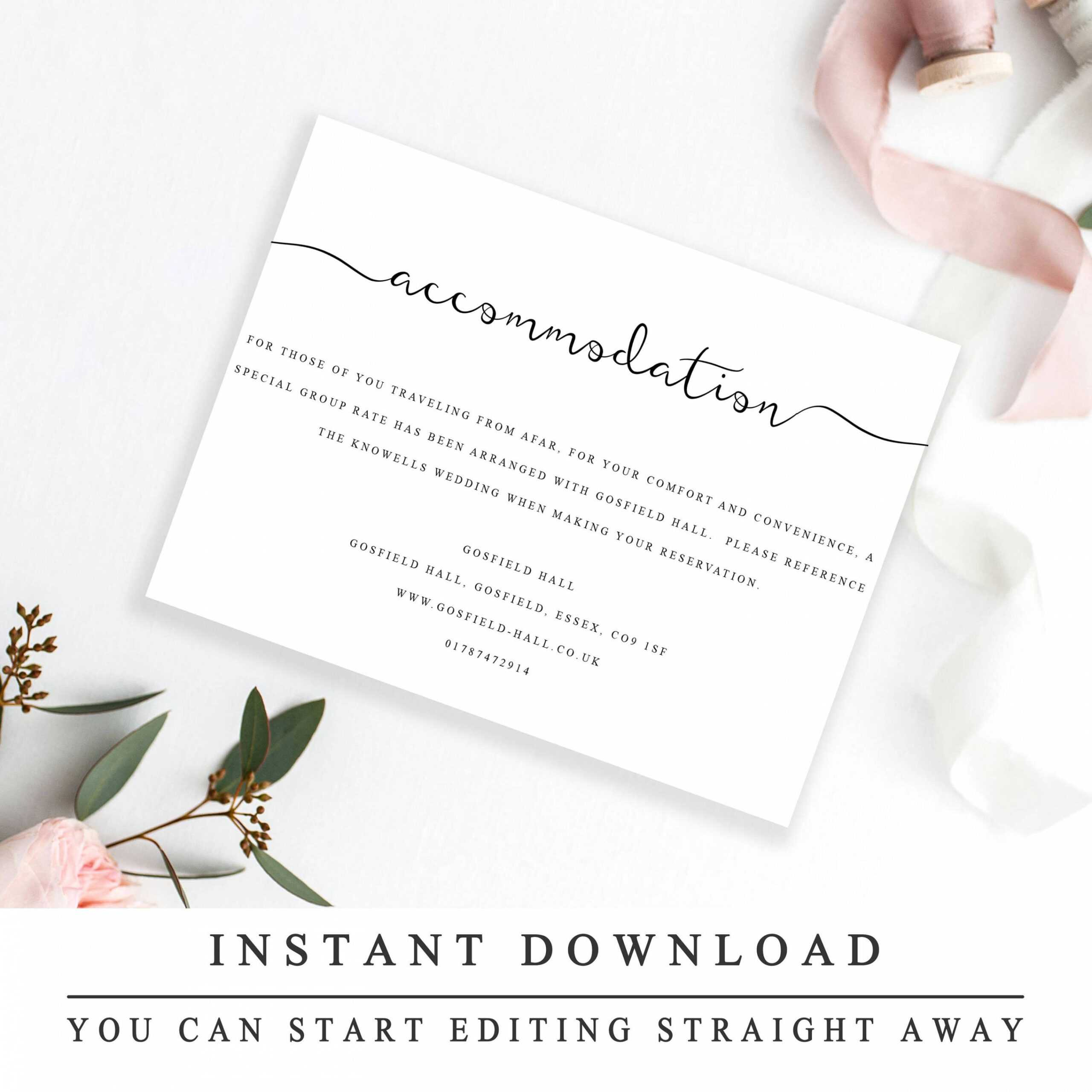 Editable Accommodations Card Insert Wedding Information Card With Regard To Wedding Hotel Information Card Template