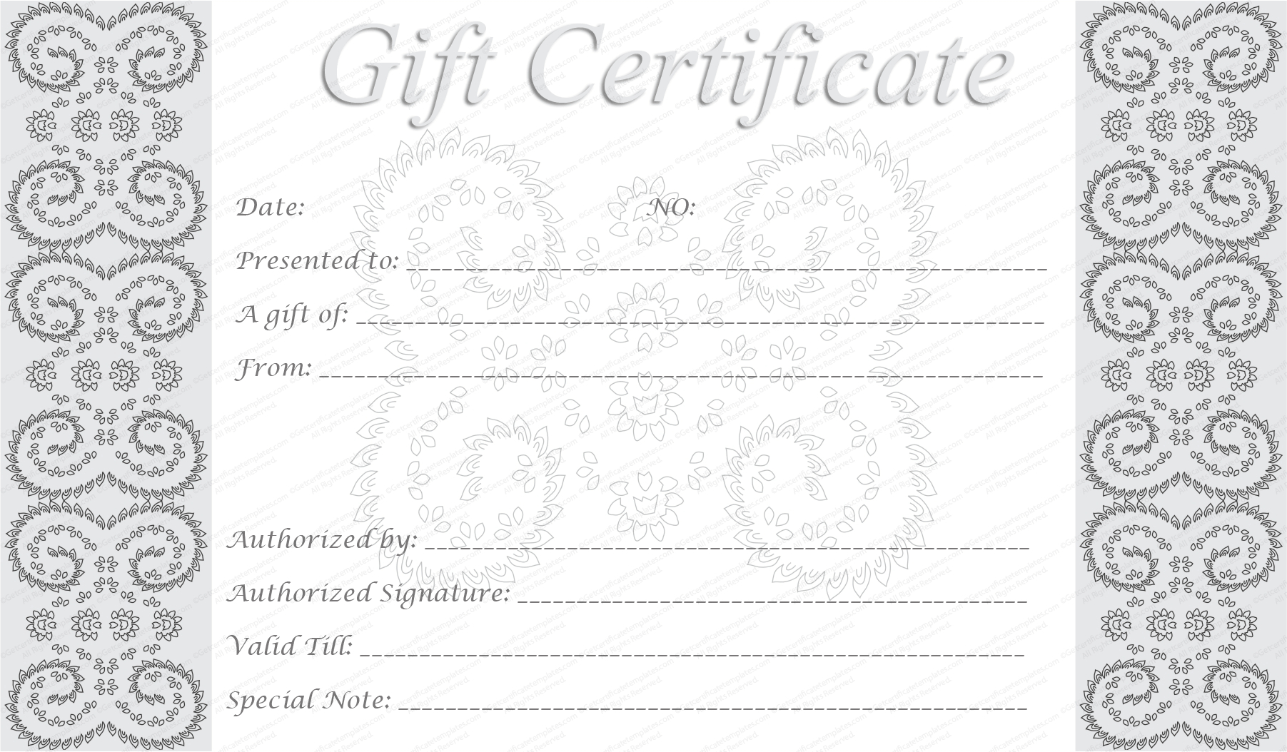 Editable And Printable Silver Swirls Gift Certificate Template Within Spa Day Gift Certificate Template