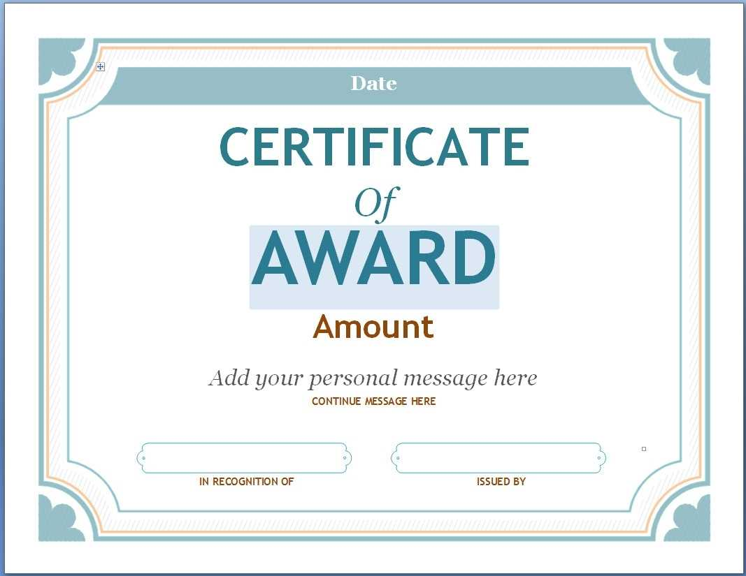 Editable Award Certificate Template In Word #1476 Throughout For Blank Award Certificate Templates Word