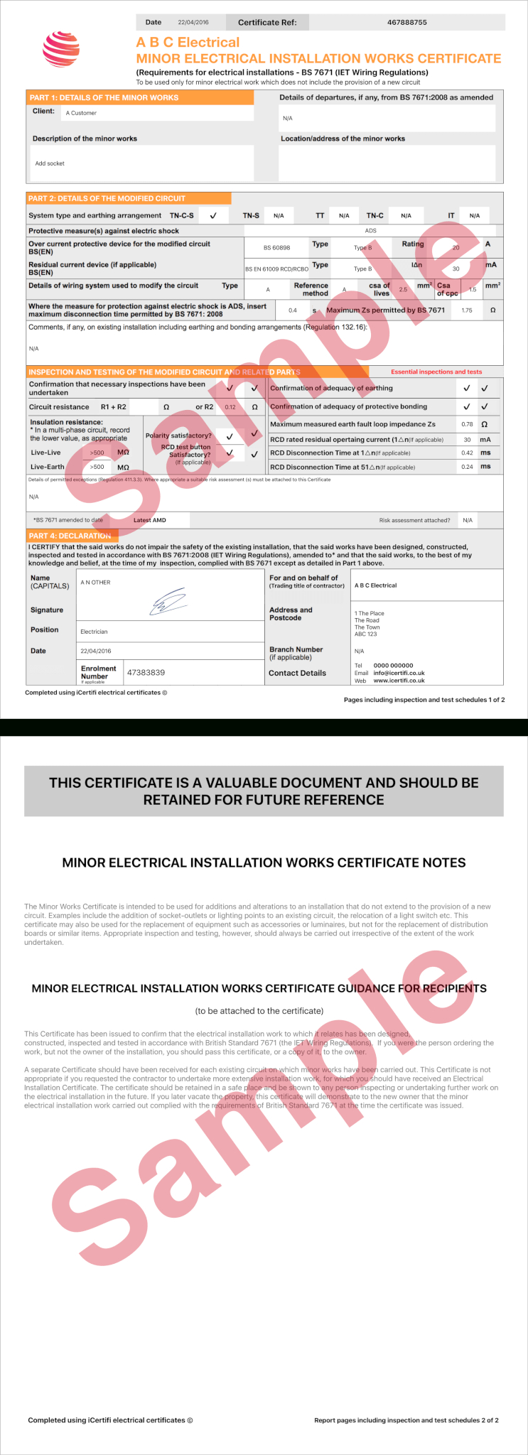 Electrical Certificate - Example Minor Works Certificate With Regard To Minor Electrical Installation Works Certificate Template