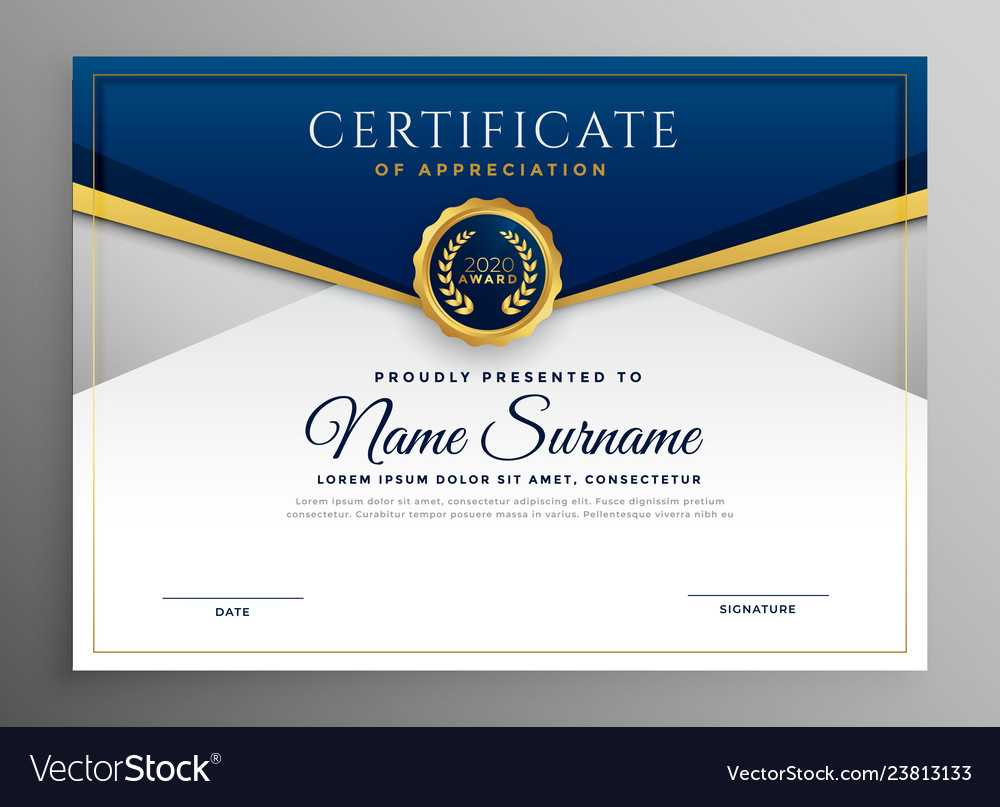 Elegant Blue And Gold Diploma Certificate Template Within Elegant Certificate Templates Free