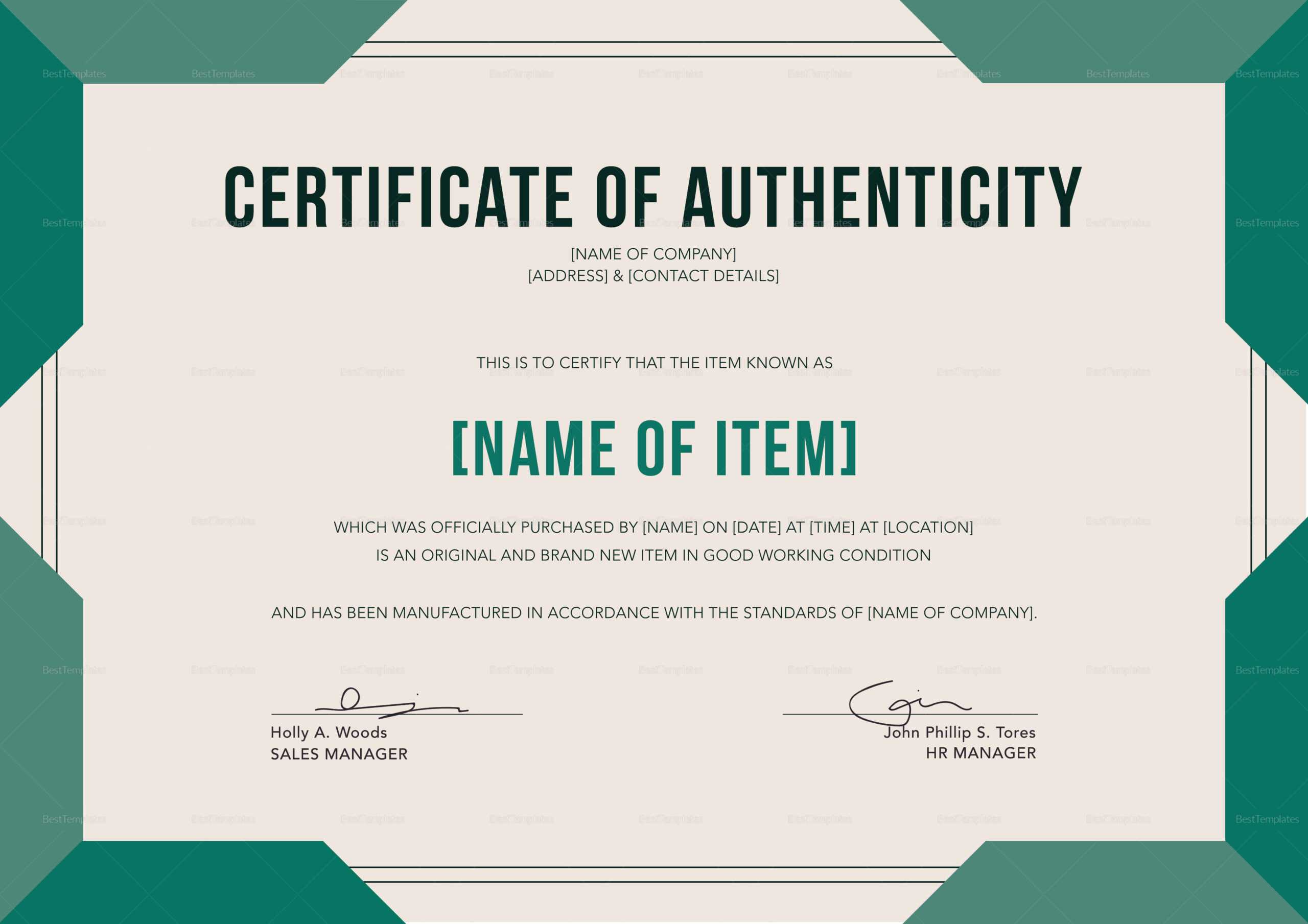 Elegant Certificate Of Authenticity Template Throughout Certificate Of Authenticity Template