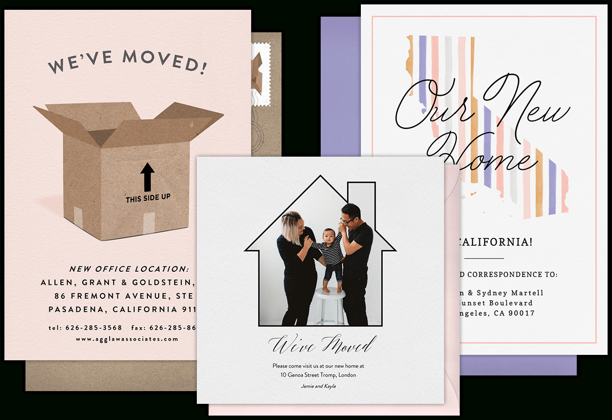 Email Online Moving Announcements That Wow!   Greenvelope In Moving Home Cards Template