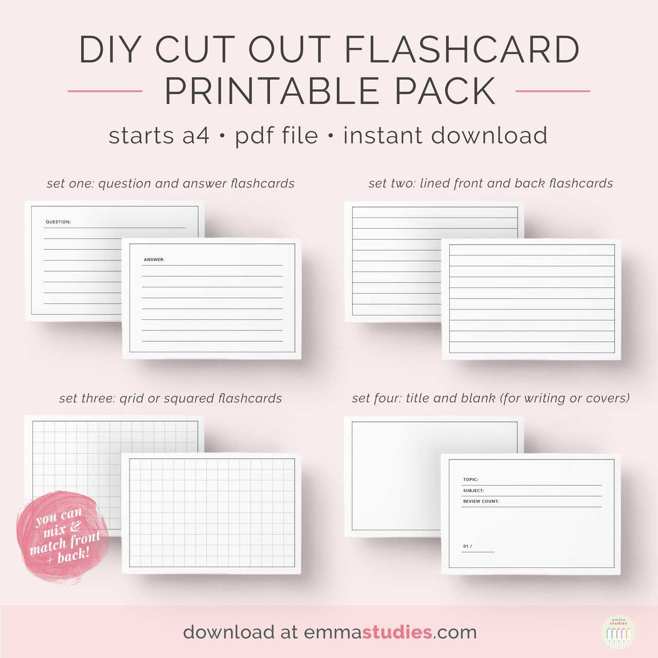 Emma's Studyblr — Free Diy Flashcards Printable Pack I've With Free Printable Flash Cards Template