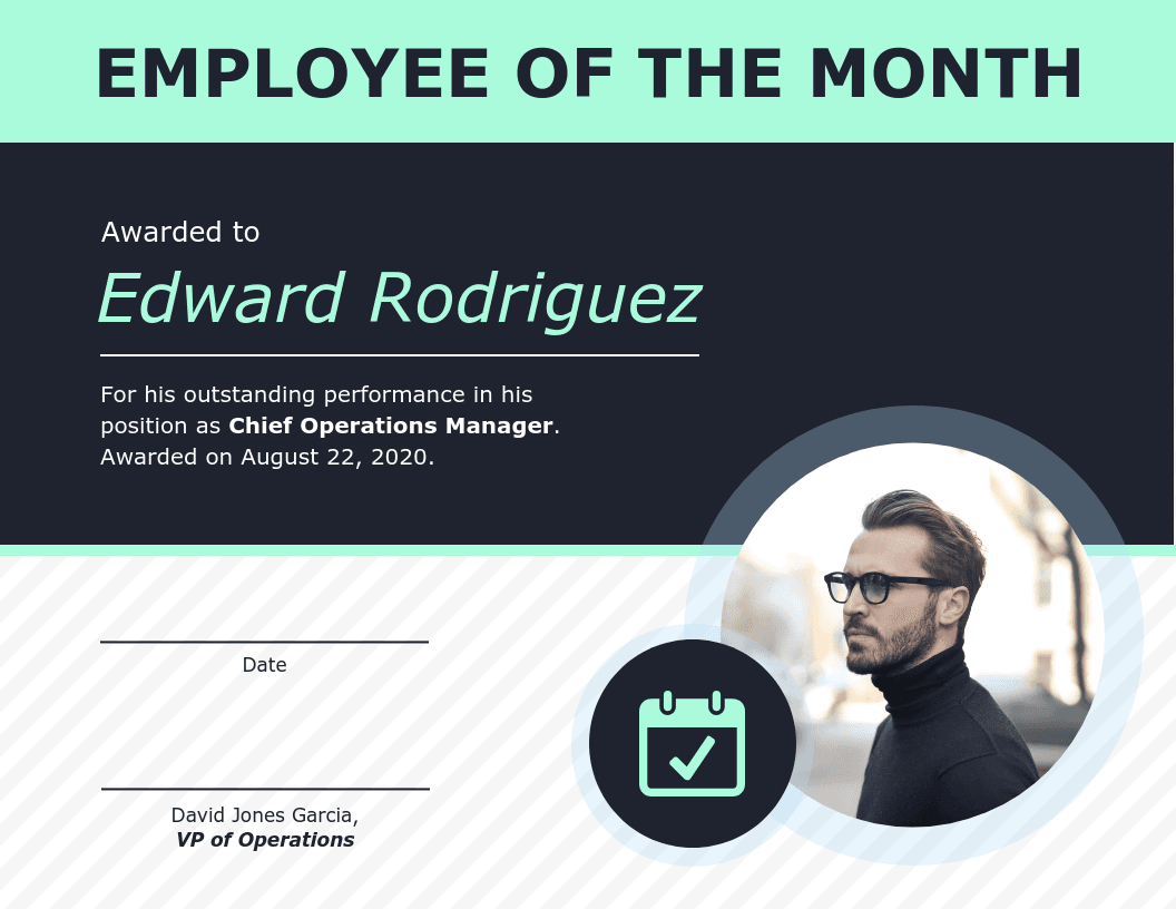 Employee Of The Month Certificate Of Recognition Template With Employee Of The Month Certificate Template With Picture