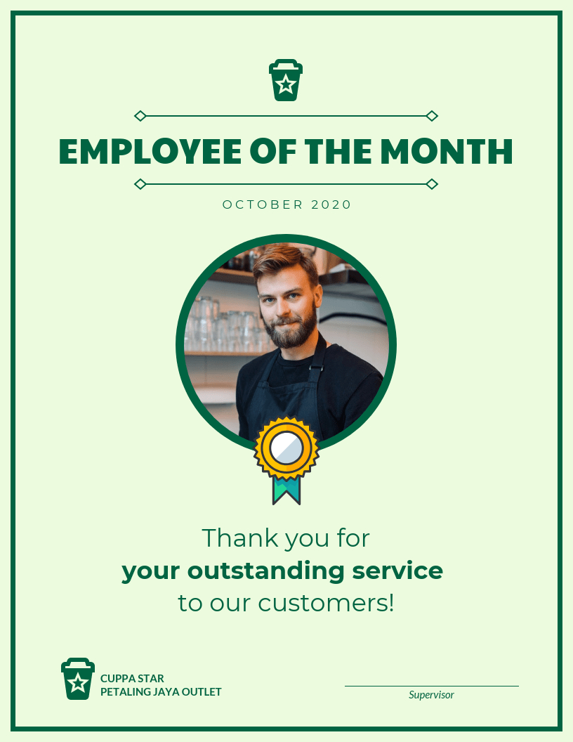 Employee Of The Month Certificate Template Pertaining To Employee Of The Month Certificate Template